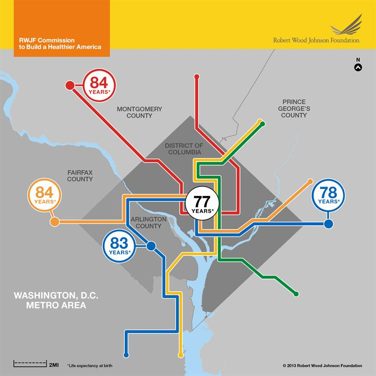 In Washington, DC, life expectancy can vary by 7 years between subway stops