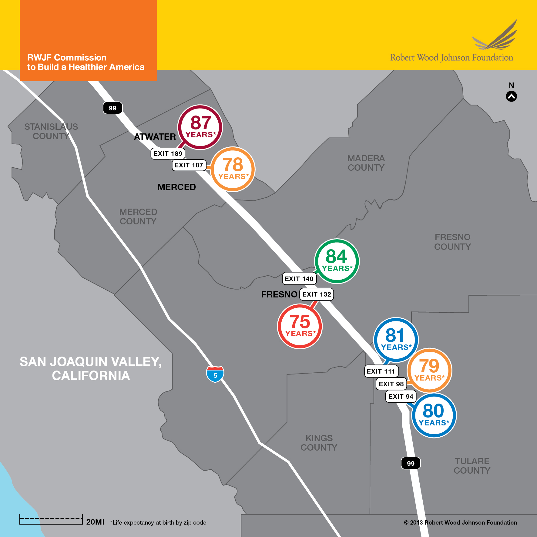 In the San Joaquin Valley, life expectancy can vary by 12 years across highway exits